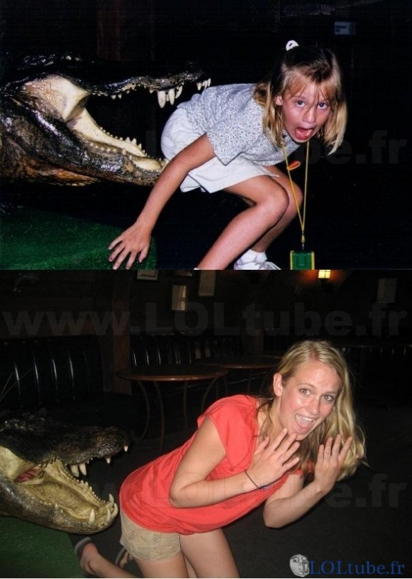 Un crocodile lui mord les fesses