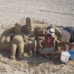 Les Simpsons dans le sable