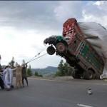 Un peu trop de chargement sur le camion
