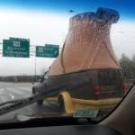 Une chaussure sur l'autoroute