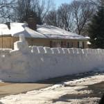 Un chateau fort neigeux