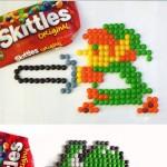 Personnages de jeux vidéos avec des skittles