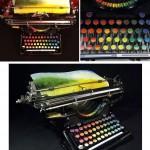 Machine à écrire version arc en ciel