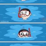 Coquin à la piscine